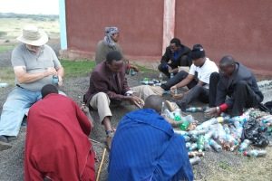 Building a bottle brick cistern in Monduli Juu